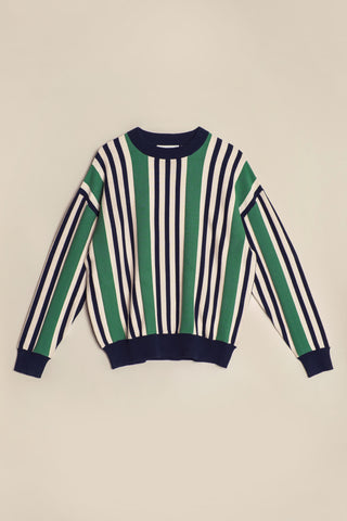 Channel Stripe Knit Sweater Juniper/Ink Ticking Stripe