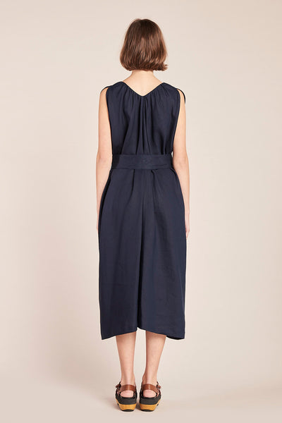 Crescent V-Neck Dress Linen Ink