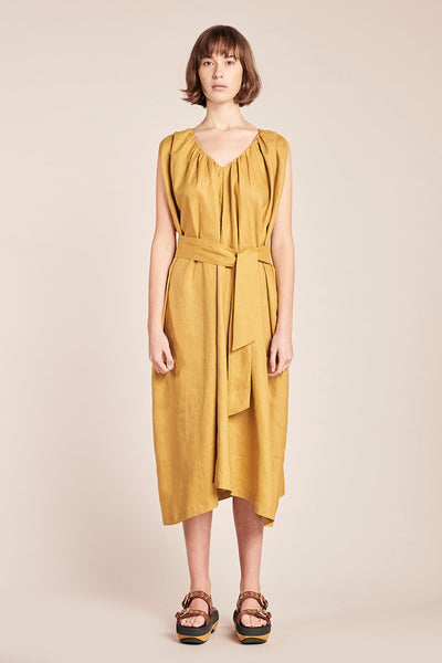 Crescent V-Neck Linen Dress Ochre
