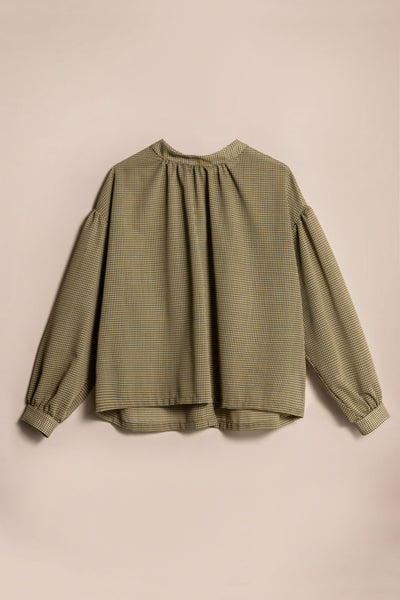 Extent Gather Blouse Mustard / Green Check
