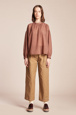 Extent Gather Blouse Red / Brown Check