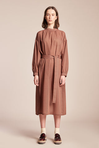 Solar Gathered Dress Red / Brown Check
