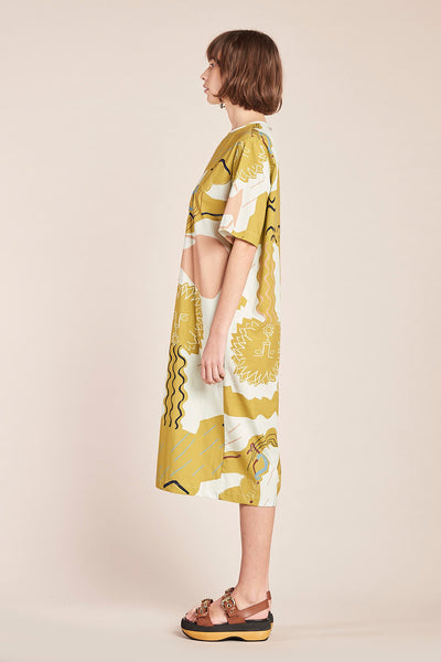 Fontain Dress Ochre Print