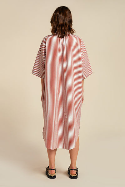 Amazons Shirt Dress Brick Stripe