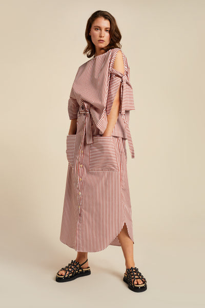 Bowed Skirt Brick Stripe