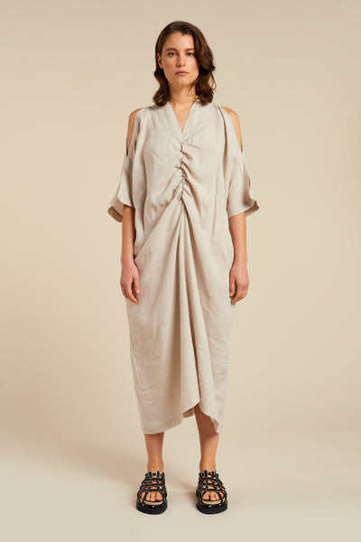 Drift V Neck Gathered Dress Stone