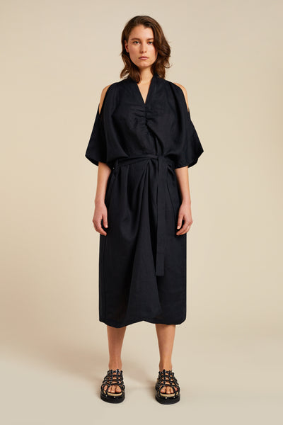 Drift V Neck Gathered Dress Black