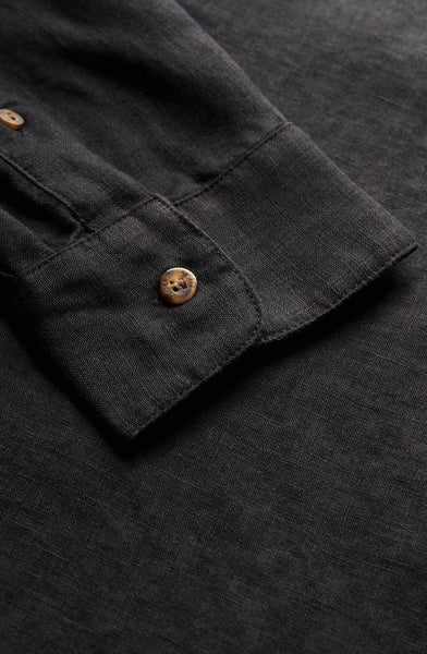 Channel L/S Linen Shirt Black