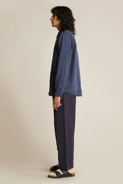 Channel L/S Linen Shirt Mid Blue