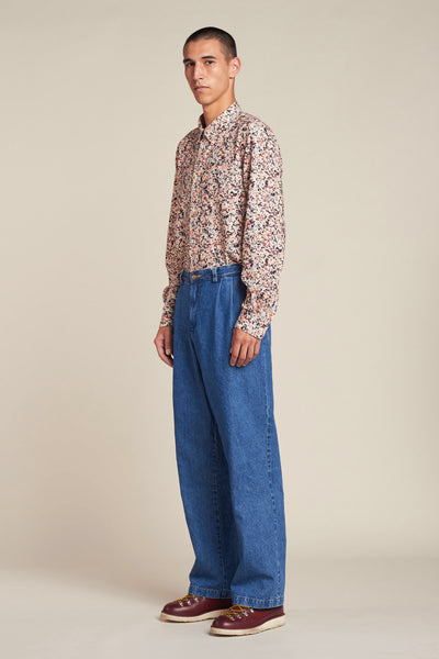 Siren Pleat Pant Midwash Indigo Denim