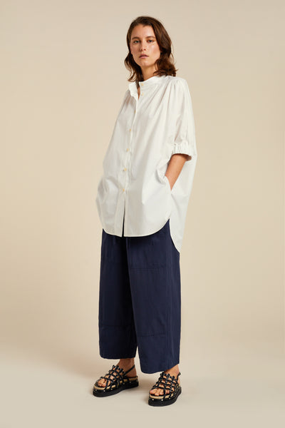 Epione Gathered Shirt White