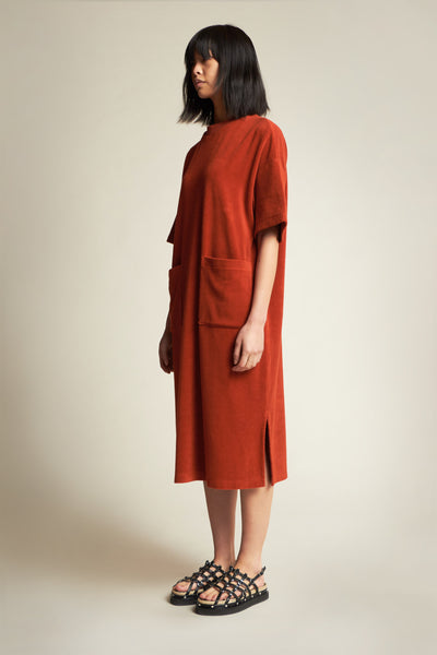 Engulf Towelling Dress Rust Red