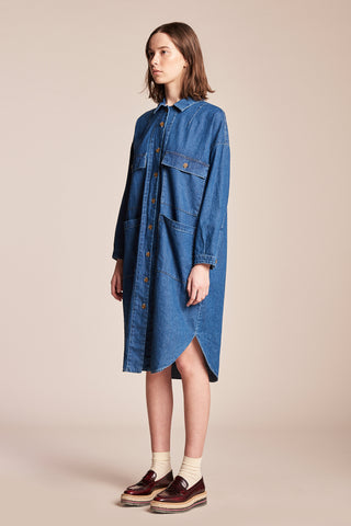 Sway Painters Shirt Dress Midwash Indigo Denim