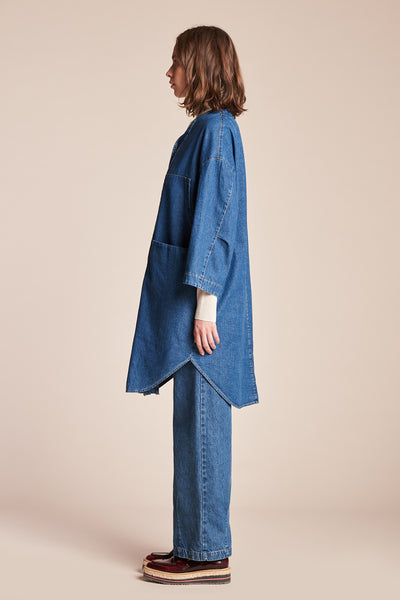 System V Neck Overshirt Dress Mid Wash Indigo