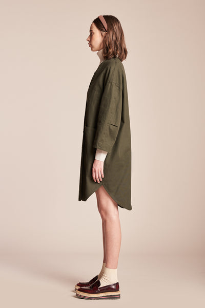 System V Neck Overshirt Dress Olive