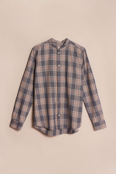 Thermal Band Collar Shirt Ink/Brick Check