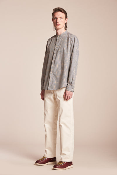 Thermal Band Collar Shirt Ink/Mustard Check