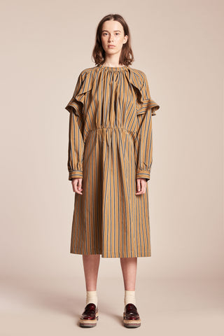 Transmit Frill Dress Ink/Mustard Stripe