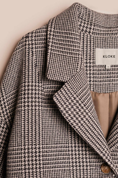 Void Wool Coat Charcoal Check