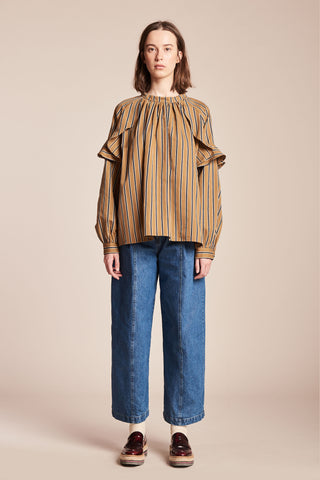 Waves Blouse Ink/Mustard Stripe