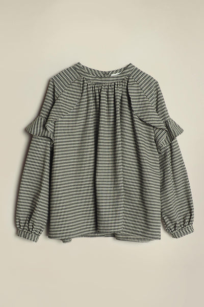 Waves Frill Blouse Black & Cream Check