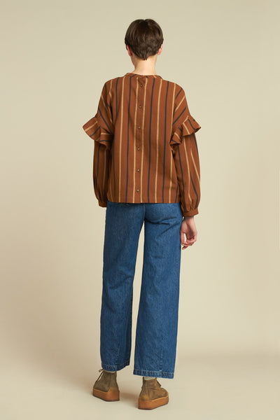 Waves Frill Blouse Rust Stripe