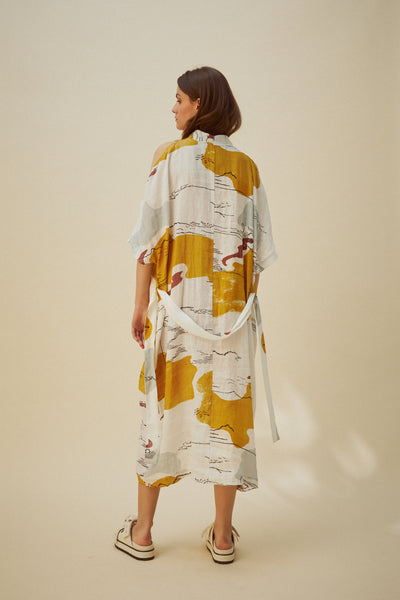 Drift Gathered Dress Fata Morgana Print