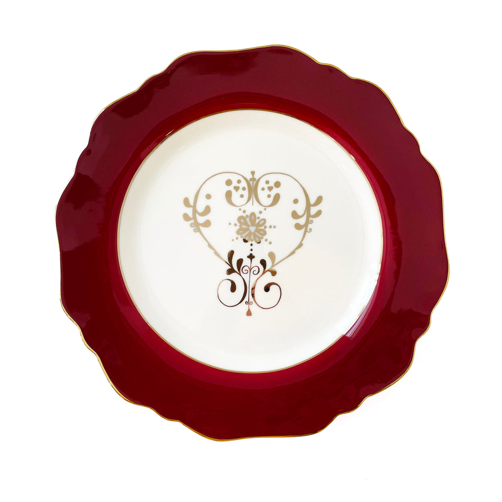 Crimson Heart Motif Side Plate