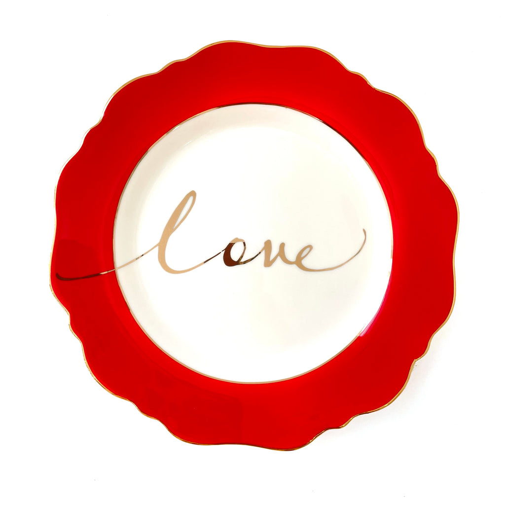 Red 'Love' Side Plate
