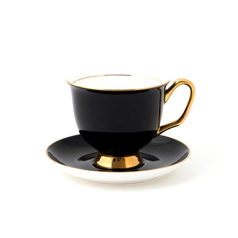 Black Teacup & Saucer XL - 375mL