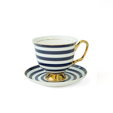 Navy Blue Stripe Teacup & Saucer XL - 375mL