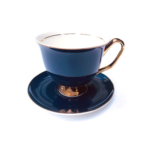 Navy Blue Teacup & Saucer XL - 375mL