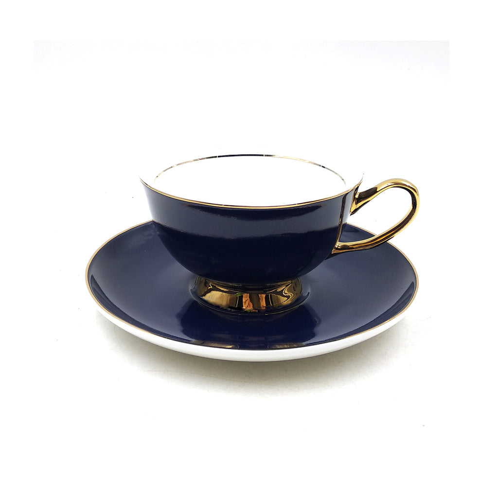 Navy Blue Teacup & Saucer - 250mL