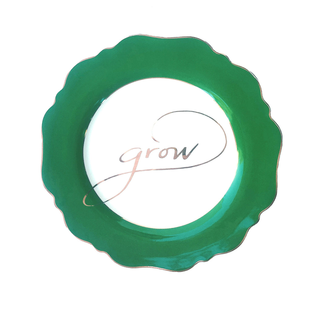 Green 'Grow' Side Plate