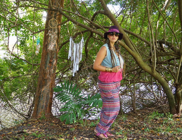 Red Bamboo Harem Pants