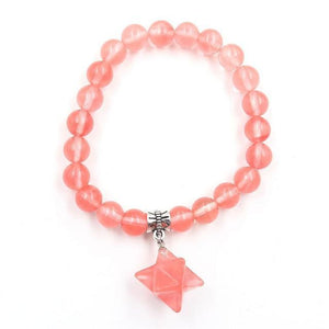1 Pcs Reiki Merkaba Star Energy Bracelets Natural Amethysts Rose Quartzs Crystal Beads Elastic Merkabah Bangle for Women Jewelry Cherry Quartzs Women - Jewelry - Bracelets
