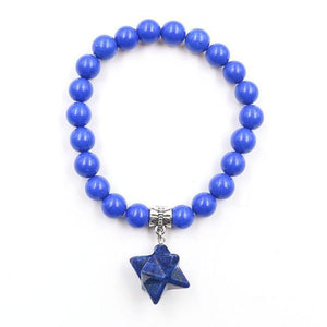 1 Pcs Reiki Merkaba Star Energy Bracelets Natural Amethysts Rose Quartzs Crystal Beads Elastic Merkabah Bangle for Women Jewelry Lapis Lazuli Women - Jewelry - Bracelets