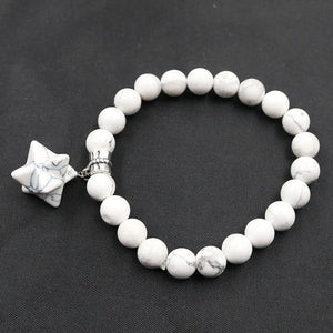 1 Pcs Reiki Merkaba Star Energy Bracelets Natural Amethysts Rose Quartzs Crystal Beads Elastic Merkabah Bangle for Women Jewelry White Howlite Women - Jewelry - Bracelets