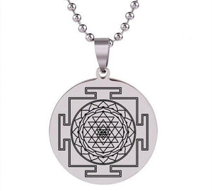 2018 New Sri Yantra Mandala Sacred Geometry Pendant Necklace Stainless Steel Pendants Om Meditate Chain Silver Jewelry HZ7 SS-0033 Chain Necklaces