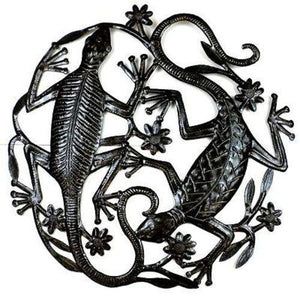 24 inch Metal Art Two Geckos (GC) Metal Wall Art