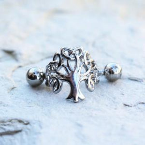 316L Stainless Steel Tree of Life Cartilage Cuff Earring Women - Jewelry - Earrings