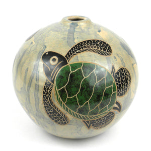 4 inch Round Vase - Turtle (GC) Decorative Pottery