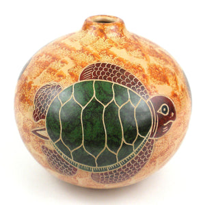 4 inch Tall Vase - Turtle on Sand (GC) Decorative Pottery