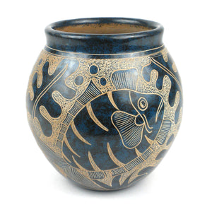 5 inch Tall Vase - Blue Fish (GC) Decorative Pottery