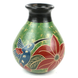5 inch Tall Vase - Green Bird (GC) Decorative Pottery