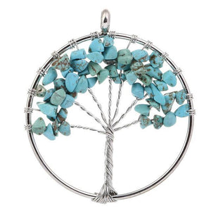 7 Chakra Color Tree of Life Pendant Necklace Blue Pendant Necklaces