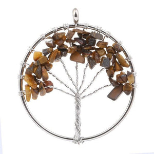 7 Chakra Color Tree of Life Pendant Necklace Brown Pendant Necklaces
