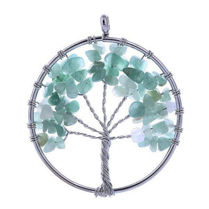 7 Chakra Color Tree of Life Pendant Necklace Green Pendant Necklaces