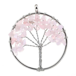 7 Chakra Color Tree of Life Pendant Necklace Pink Pendant Necklaces