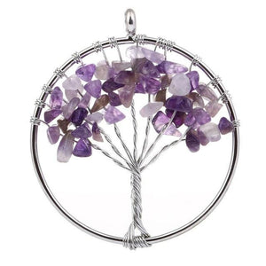 7 Chakra Color Tree of Life Pendant Necklace Purple Pendant Necklaces